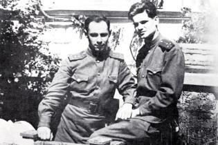 Wladimir Gall und Konrad Wolf in Halle, 1946